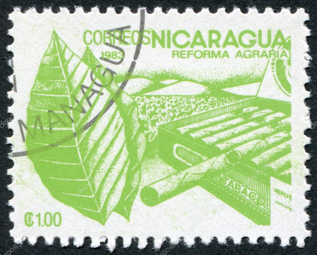 NICARAGUA - CIRCA 1983: Postage stamps printed in Nicaragua, is dedicated to agrarian reform, is shown Tobacco, circa 1983 — Stock Photo #12363617