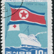 NORTH KOREA - CIRCA 1964: A stamp printed in North Korea, is dedicated to the 5th anniversary of the treaty between Korea and Japan on the return of citizens, circa - Stock Photo