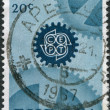 NETHERLANDS - CIRCA 1967: A stamp printed in the Netherlands, shows a gear and emblem CEPT, circa 1967 — Stock Photo