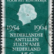 Stock Photo: NETHERLANDS - CIRC1964: stamp printed in Netherlands, dedicated to 10th anniversary of Charter of Kingdom of Netherlands, shows Queen Juliana, ci