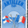 NETHERLANDS ANTILLES - CIRCA 1982: A stamp printed in Netherlands Antilles, is dedicated to PHILEXFRANCE-82, Stamp Exhibition, shows Flags of France and Flags of Net — Stock Photo
