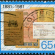 NETHERLANDS - CIRCA 1981: A stamp printed in the Netherlands, is dedicated to the 100th anniversary of the National Savings Bank, shows a savings bank books, circa 1 — Stock Photo