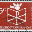 Stock Photo: NETHERLANDS - CIRC1964: stamp printed in Netherlands, dedicated to 150th anniversary of founding of Netherlands Bible Society, shows Bible, C