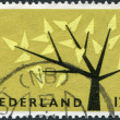 NETHERLANDS - CIRCA 1962: A stamp printed in the Netherlands, shows a stylized tree with 19 leaves, circa 1962 — Stock Photo #12427791