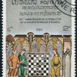 Stock Photo: LAOS-CIRC1984: stamp printed in Laos, dedicated to 60 anniversary of World Chess Federation, Illustrations of various medieval and Renaissance chess