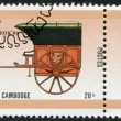 Stock Photo: KAMPUCHEA-CIRC1990: stamp printed in Cambodia, dedicated STAMPWORLD LONDON-90