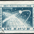 NORTH KOREA-CIRCA 1958: A stamp printed in the North Korea, dedicated to the International Geophysical Year, Sputnik-1 shows, circa 1958 — Lizenzfreies Foto