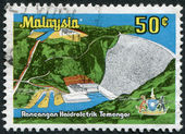MALAYSIA - CIRCA 1979: Postage stamps printed in Malaysia, is shown Temenggor Power Station, circa 1979 — Foto Stock