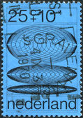 NETHERLANDS - CIRCA 1970: A stamp printed in the Netherlands, shows Transition phases of concentric circles with increasing diameters, circa 1970 — Stock Photo