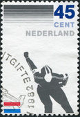 NETHERLANDS - CIRCA 1982: A stamp printed in the Netherlands, is dedicated to the 100th anniversary of Royal Dutch Skating Federation, shows a skater, circa 1982 — Stock Photo