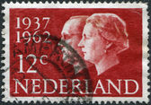 NETHERLANDS - CIRCA 1962: A stamp printed in the Netherlands, is dedicated to the 25th anniversary of the wedding, Queen Juliana and Prince Bernhard, circa 1962 — Stock Photo