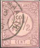 NETHERLANDS - CIRCA 1876: A stamp printed in the Netherlands, shows the value of a postage stamp, circa 1876 — Stock Photo