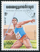 KAMPUCHEA-CIRCA 1983: A stamp printed in the Kampuchea, is dedicated to Summer Olympic Games in Los Angeles, — Stockfoto
