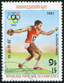 KAMPUCHEA-CIRCA 1983: A stamp printed in the Kampuchea, is dedicated to Summer Olympic Games in Los Angeles, — Stock Photo