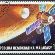 Foto Stock: MADAGASCAR - CIRC1976: Postage stamps printed in Madagascar, shows Viking space probe, circ1976