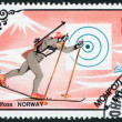 MONGOLIA-CIRCA 1985: A stamp printed in the Mongolia, is devoted to the Winter Olympic Games Sarajevo-1984, Marja-Liisa Kirvesniemi (Hämäläinen), circa 1985 — Stock Photo