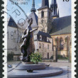 Stock Photo: LUXEMBOURG - CIRC1996: stamp printed in Luxembourg, is dedicated to 100th anniversary of Charlotte, Grand Duchess of Luxembourg, represented Monument, circa