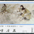 NORTH KOREA - CIRCA 1975: A stamp printed in North Korea, is dedicated to the history of the Revolution, shows the soldiers and farmers working in the field, circa 1 — Stock Photo #12465680