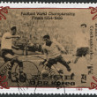 NORTH KOREA - CIRCA 1985: A stamp printed in North Korea, shows the final World Cup 1958, Brazil - Sweden, circa 1985 — Stock Photo