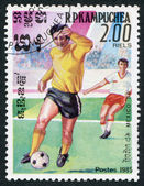 R.P.KAMPUCHEA-CIRCA 1985: Postage stamps printed in Kampuchea, is devoted to the Football Championship in Mexico-86, circa 1985 — Stock Photo