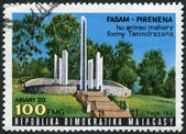 MADAGASCAR - CIRCA 1977: Postage stamps printed in Madagaskar, shows the National Mausoleum in Antananarivo, circa 1977 — Stock Photo