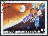MADAGASCAR - CIRCA 1976: Postage stamps printed in Madagascar, shows a Viking space probe, circa 1976 — Stok fotoğraf