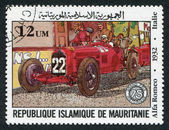 MAURITANIA-CIRCA 1982: Postage stamps printed in the Islamic Republic of Mauritania, dedicated to the 75 th anniversary of the Grand Prix of France — Stock Photo