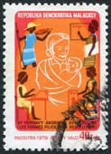 MADAGASCAR - CIRCA 1979: Postage stamps printed in Madagascar, is depicted women, supporters of the revolution, circa 1979 — Stock Photo