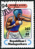 Madagascar - circa 1994: sellos impresos en madagascar, está dedicado a los deportes — Foto de Stock