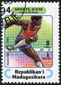 Description:MADAGASCAR - CIRCA 1994: Postage stamps printed in Madagascar, is devoted to sports — Stock Photo