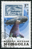 MONGOLIA-CIRCA 1981: A stamp printed in the Mongolia, dedicated to the 50 th anniversary of the polar flight of Graf Zeppelin, Seal, circa 1981 — Stock Photo