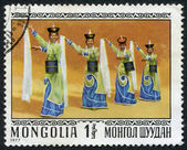 MONGOLIA-CIRCA 1977: A stamp printed in the Mongolia, depicts traditional dances of Mongolia, circa 1977 — Stock Photo
