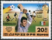 NORTH KOREA - CIRCA 1982: A stamp printed in North Korea shows the finalists of the World Cup, Spain-82, circa 1982 — Stockfoto
