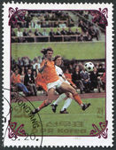 NORTH KOREA - CIRCA 1985: A stamp printed in North Korea, shows the final World Cup 1974, Netherlands - West Germany, circa 1985 — Stock Photo