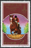 NORTH KOREA - CIRCA 1978: A stamp printed in North Korea, is devoted to the Olympic Games in Moscow, the equestrian show, circa 1978 — Stok fotoğraf