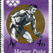 HUNGARY - CIRCA 1973: A stamp printed in Hungary, is devoted to the Summer Olympics in Munich, the Olympic champion shows Csaba Hegedus, circa 1973 — Stock Photo