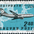 Royalty-Free Stock Photo: HUNGARY - CIRCA 1977: A stamp printed in Hungary, is devoted to airmail, shows Airbus A300B over the map of Europe, circa 1977