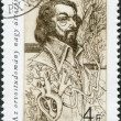 HUNGARY - CIRCA 1987: A stamp printed in Hungary, shows William Harvey (1578-1657), English physician, anatomist, circa 1987 - Stock Photo