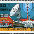 HUNGARY - CIRC1978: stamp printed in Hungary, is devoted to 20th anniversary of Organization for Communication Cooperation of Socialist Countries, depicted T — Stock Photo #12755415