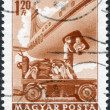 HUNGARY - CIRCA 1963: A stamp printed in Hungary, is depicted in loading mail plane, circa 1963 — Stock Photo