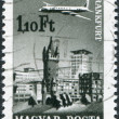 HUNGARY - CIRCA 1966: A stamp printed in Hungary, is depicted in Frankfurt am Main, aircraft, Eschenheimer Turm and Eschenheimer Gate, circa 1966 — Stock Photo