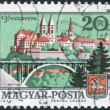 HUNGARY - CIRCA 1973: A stamp printed in Hungary, depicts town Veszprem, viaduct and coat of arms, circa 1973 - Stock Photo