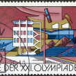 Royalty-Free Stock Photo: DDR - CIRCA 1976: A stamp printed in DDR, devoted to the Summer Olympics in Montreal, depicts Regatta course, Brandenburg, circa 1976