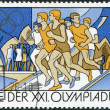 DDR - CIRCA 1976: A stamp printed in DDR, devoted to the Summer Olympics in Montreal, is shown in 1500-meter race, circa 1976 — Stock Photo
