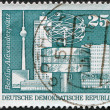 DDR - CIRCA 1973: A stamp printed in DDR, shows World clock, Alexander Square (Berlin), circa 1973 — Stock Photo