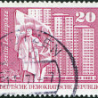 DDR - CIRCA 1973: A stamp printed in DDR, shows Lenin Square, residential high-rise buildings (Berlin), circa 1973 - Stock Photo