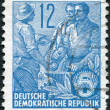 DDR - CIRCA 1953: A stamp printed in DDR, shown Worker, peasant and intellectual, circa 1953 — Stock Photo