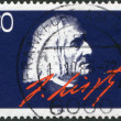 Royalty-Free Stock Photo: GERMANY - CIRCA 1986: A stamp printed in the Germany, dedicated to the 100th anniversary of his death Franz Liszt, portrait and signature, circa 1986
