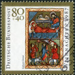 "GERMANY - CIRCA 1987: A stamp printed in the Germany, shows a miniature ""Birth of Christ"" English Psalter, 13th century, circa 1987 — 图库照片"