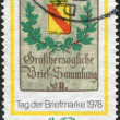 GERMANY - CIRCA 1978: A stamp printed in the Germany, dedicated to the Stamp Day and German Philatelists Meeting, Frankfurt am Main, is shown Baden Posthouse Sign, c - Stock Photo